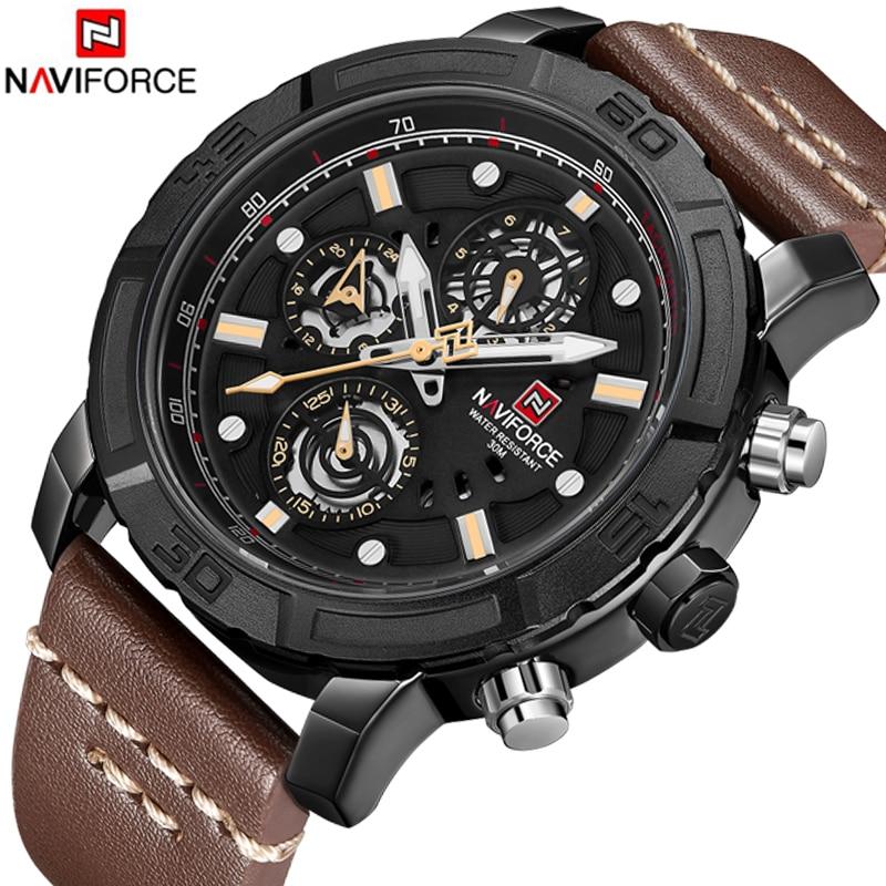 Naviforce Top Luxury Brand Men Leather Strap Sports Watches Men's Quartz Date Clock Man Waterproof Wrist Watch Relogio Masculino шина roadstone roadian hp 285 45 r22 114v