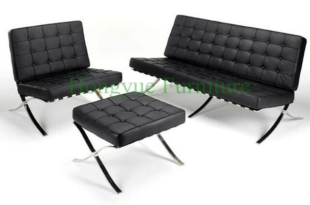 Modern Leather One Seat Reclining Lounge Leather Barcelona Chair For Living  Room