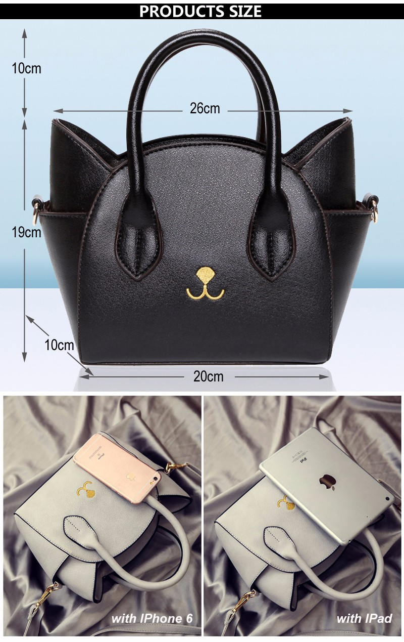 Cat Design Women's Leather Top Handle Handbag Purse