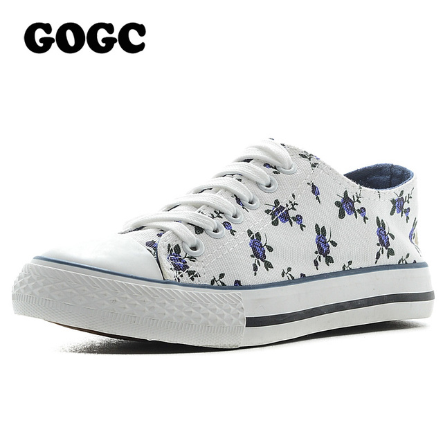 GOGC Flower Women's Shoes 2017 Brand New Floral Canvas Shoes Women for Summer Breathable Walking Shoes Women Casual Shoes Sport