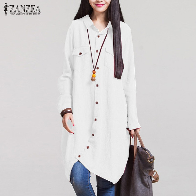 Oversized ZANZEA  Casual Cotton Long Shirts