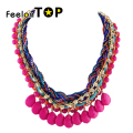 Braided Rope Hotpink Blue Imitation Gemstone Fashion Bijioux New Arrival  Choker Necklace for Women