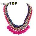 Corda trançada hotpink azul imitação gemstone moda bijioux novo chegada choker colar para mulheres