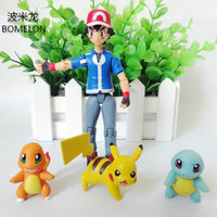 Pocket Monster Toys Ash Ketchum Pikachu Charizard Squirtle Sets Aciton Figures Anime Vinyl Doll Kids Toys