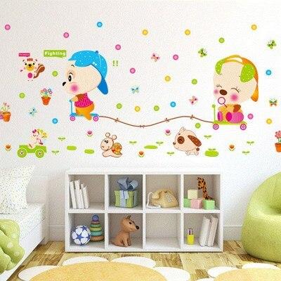 Детские размеры Ростомер рост ребенка измерения высота линейка настенная бумага Милая мультяшная Наклейка на стену - Цвет: B