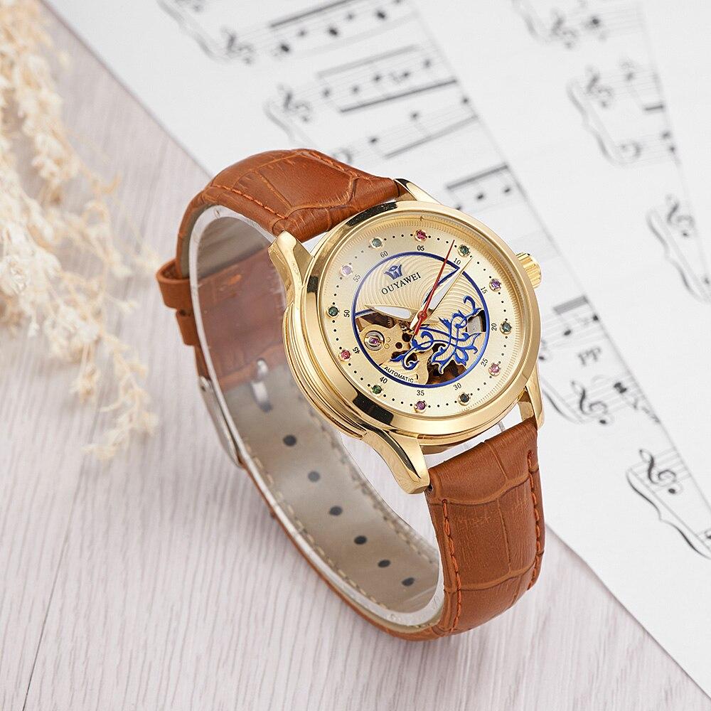 Luxury Gold Skeleton Automatiska Armbandsur Kvinnor OUYAWEI Fashion - Damklockor - Foto 3