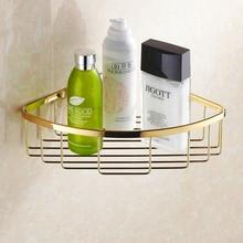 New Wall Mounted Brass Shower Gels Rack Durable Copper Basket Bathroom Shampoos Holder Storage Baskets HJ-111K