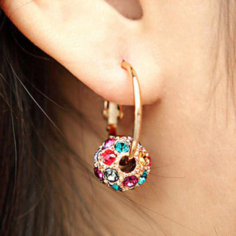 Beautifully Fashioned Gold Colored Earrings - Lucky Colorful Crystal Ball for Elegant Woman Jewelry Statement Earrings