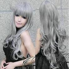 Парик Новая мода серый длинный косплей парик