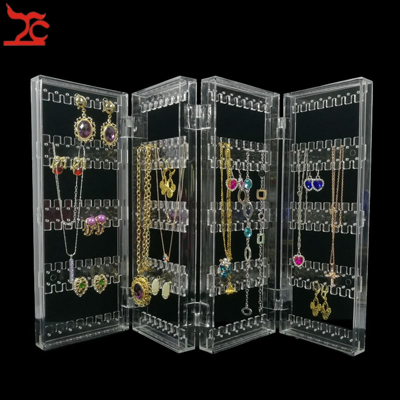 foldable 4 panel clear acrylic makeup jewelry organizer holder 256 holes earring stud necklace