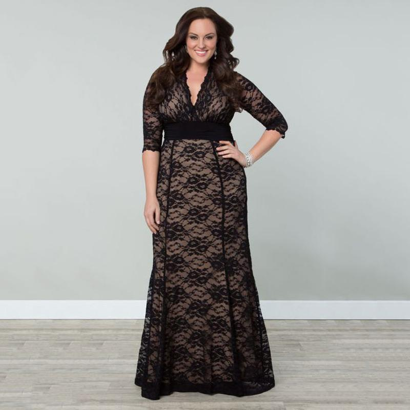 Women's Plus Size Lace Winter Gown Dresses 2016 Autumn