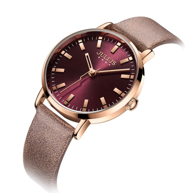 Reloj de pulsera de cuarzo púrpura con correa de cuero para mujer, reloj de oficina para mujer, reloj de pulsera de 30 m a prueba de agua, Montre JA 1149-in Relojes de mujer from Relojes de pulsera    2
