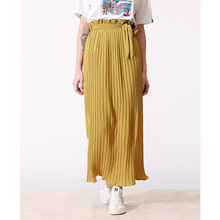 Dubai Islamic Muslim Women Pleated Maxi Long Skirt With Belt  High Waisted Crinkle Stretch Chiffon Muslim Half Dress Oversize