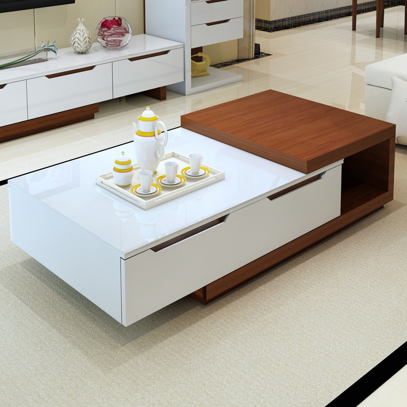 Telescopic White Paint Coffee Table Minimalist Modern Multi Functional Storage Combination Tv Cabinet In Tables From