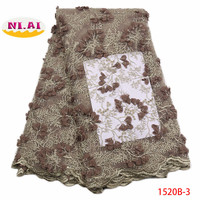 Latest Nigerian Lace Fabric 2018 High Quality African Lace Fabric With Handmade Beaded 3d Embroidery For Wedding Dress XY1520B 1