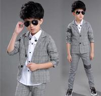 Boys 6 spring and autumn checker suit suits, 10 children's long sleeved clothes, children's wear 3 15 years old two sets.