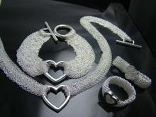 Al por mayor! joyería de moda, 925 Collar de plata + Pulsera Set 068