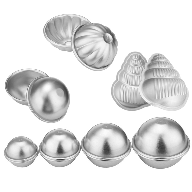 4 Type 3D Aluminum Alloy Bath Bombs Mold Ball Sphere Shape Bath Salt Bomb Set Mold DIY Bathing Tool Accessories 1