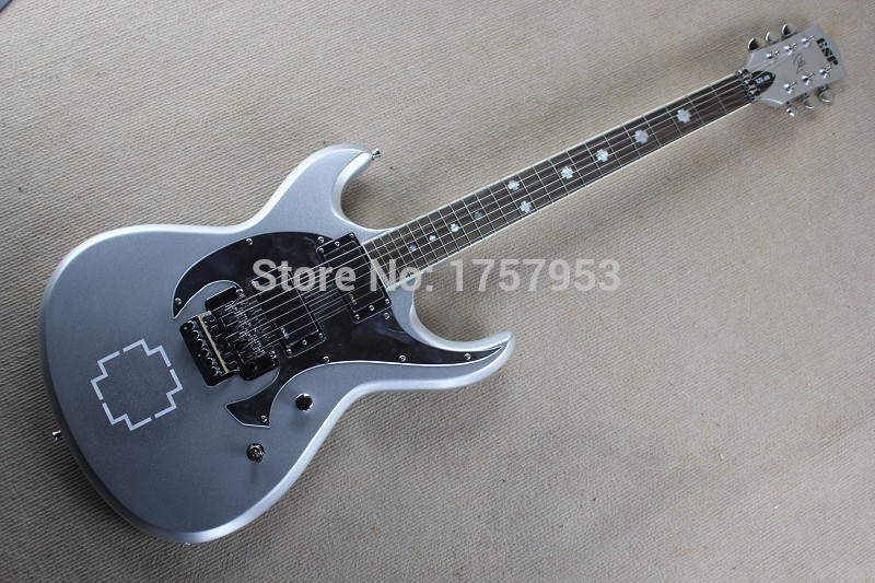 Free Shipping Factory Custom Shop 2017 new E S P RZK-600 Silver Gray Electric Guitar 1 1 ...