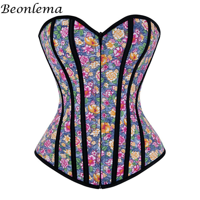 09e99842c8db9 Corselet Corsets Sexy Corsage Bodice Floral Printing Overbust Modeling  Strap Fajas Slimming Cosplay Colorful Burlesque Shapewear