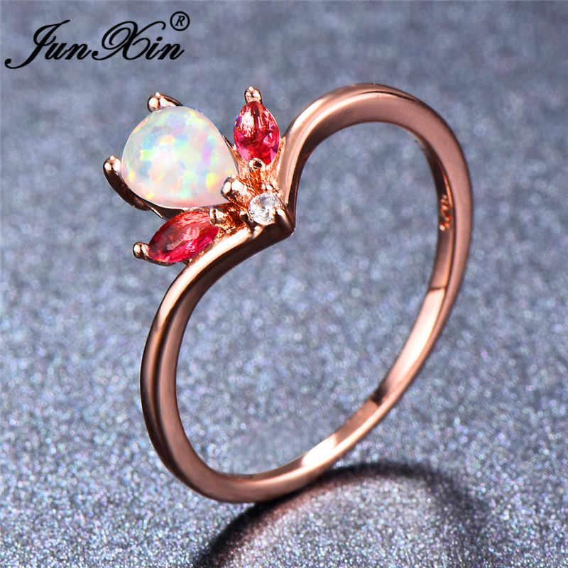 JUNXIN шикарный фиолетовый/синий/белый огненный опал кольца для женщин каплевидный Радужный камень Красный Циркон Камень Корона кольцо дизайнерские ювелирные изделия