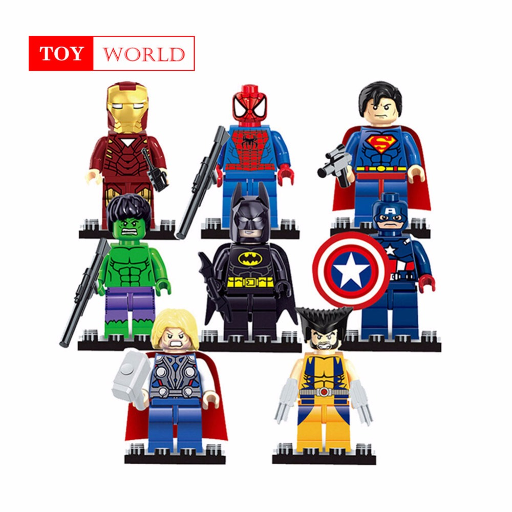 Singel of Marvel Super Heroes Avengers Wonder Woman Guardians of the Galaxy Batman X man flash DC Building Blocks Toys Figures