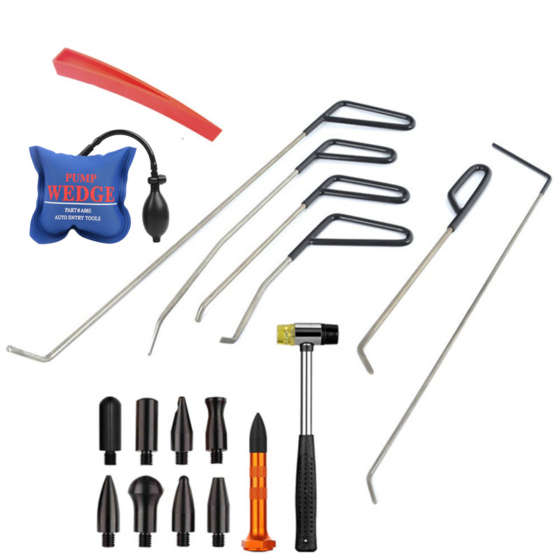 FURUIX PDR Tools Rods Hooks POM HeadsTap Down Rubber Hammer pump wedges paintless Dent Repair set adjustable pdr repair tools set tap down 9heads rubber hammer paintless dent tool multi function rubber hammer