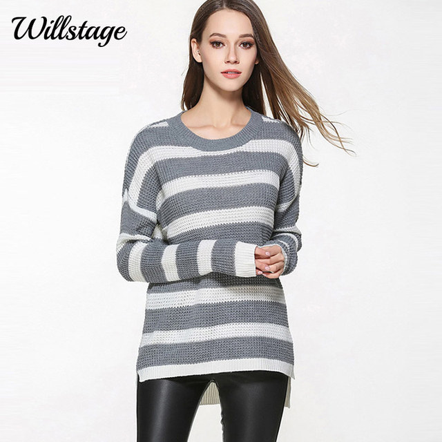 Willstage 3XL Plus Size Sweaters Women Long Sleeve Striped Oversized  Knitted Tops Casual Pullovers 2017 Autumn Winter Tops Large 0afeeaca3aee