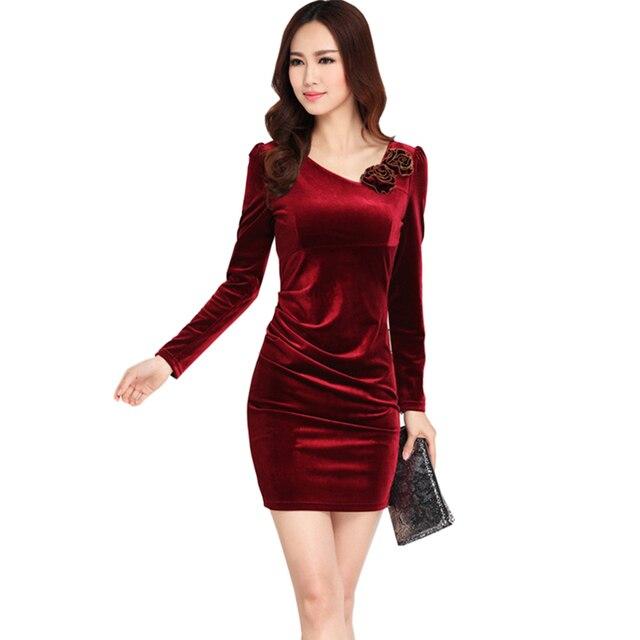 Gold Velvet plus size Dresses Middle Age Women V Neck 3D Flower Long Sleeve Dress  Autumn Women Slim Parties Dress M-3XL YM238 9d2e4c0c69db