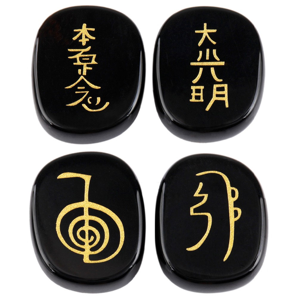 Sunyik 1set 4pc black agate engraved stonepalm usui stone sunyik 1set 4pc black agate engraved stonepalm usui stone healing crystal chakra reiki symbols in jewelry packaging display from jewelry accessories biocorpaavc