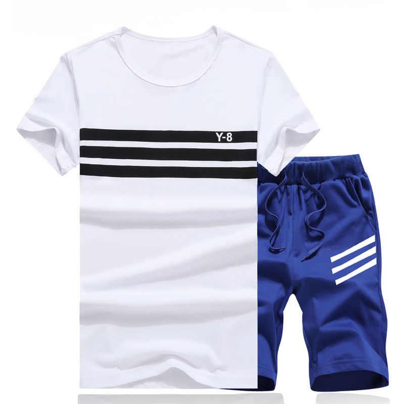 Yaz erkekler Set spor Suit erkekler kısa kollu T gömlek + şort setleri iki adet spor seti eşofman moda rahat eşofman erkekler
