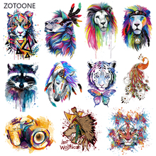 ZOTOONE Parches Heat Transfer Vinyl Patch Sticker Iron on for Clothes Fabric Peacock Lion Tiger Applique Badge I