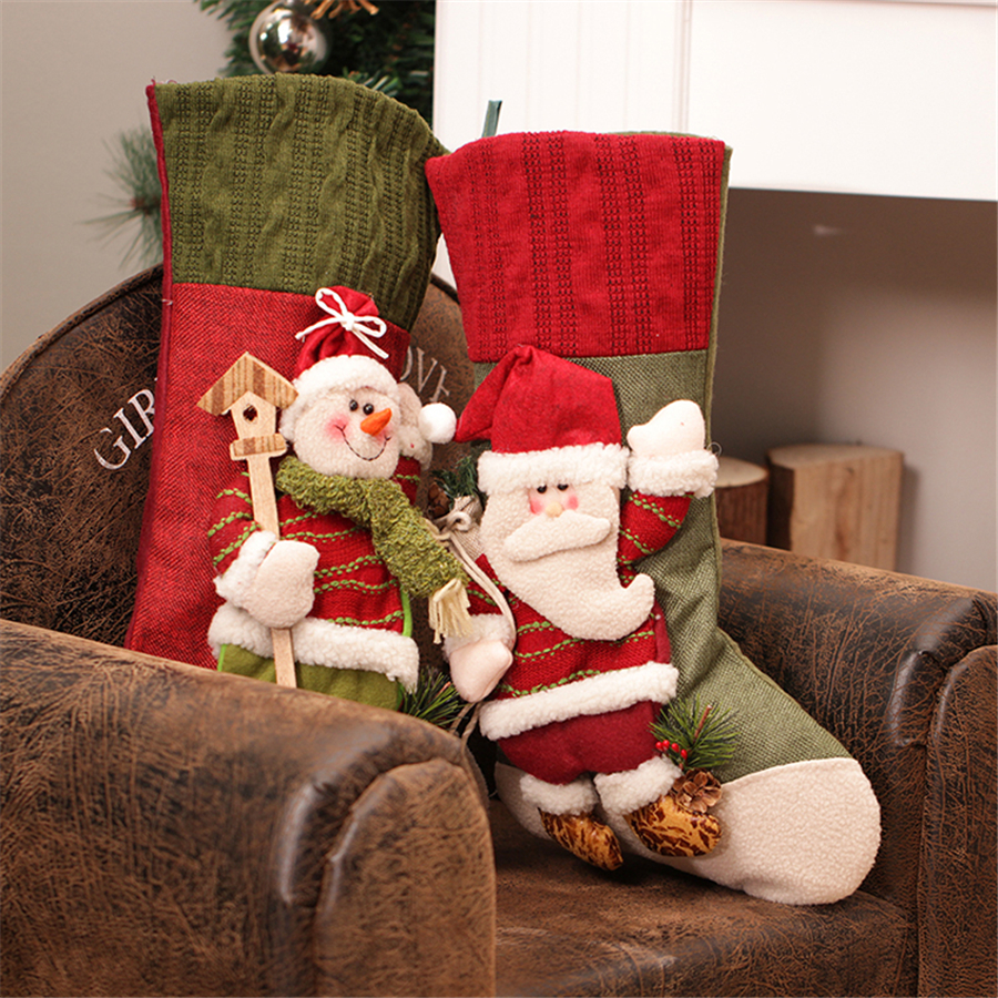 Enfeites De Natal 2016 New Large Knit Christmas Stockings