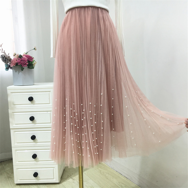 New 2019 Spring Summer Skirts Womens Beading Mesh Tulle Skirt Women Elastic High Waist A Line Mid Calf Midi Long Pleated Skirt 19