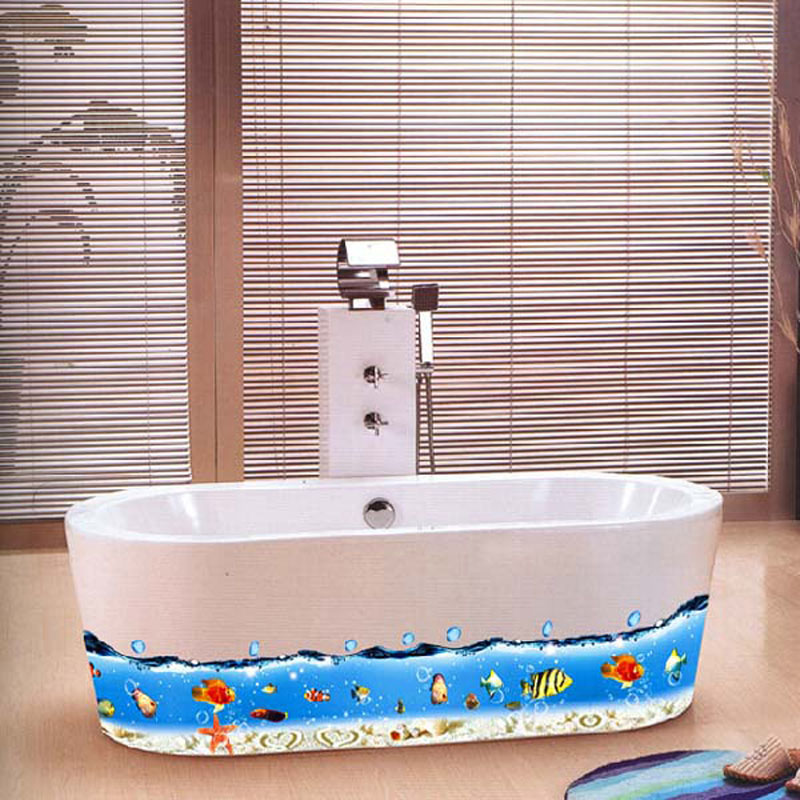 Colorful Sea World Wall Sticker Fish Removable Wall Decal Bathroom Wall Sticker for Kids Room AY917