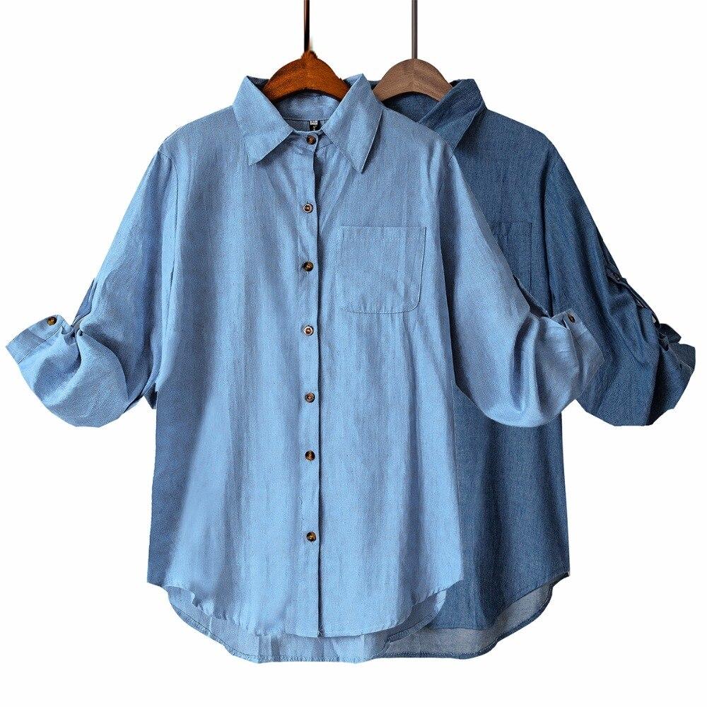 Plus Size XXXXXL 5XL-XL Woman Denim Blouses Feminine Blusa Jeans High Street Style Pocket Jean Shirt Chemise Femme T64202R
