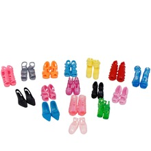 Randomly Picked 10 Pairs Colorful Assorted Fashion Colorful Doll Shoes Heels Sandals For Barbie Dolls Accessories Outfit Dress
