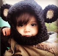 EMS DHL Free Shipping Wholesale 2015 New Design Black Bear Ear Winter Windproof Baby Hats And Scarf Set For Kids Boys Girls Caps