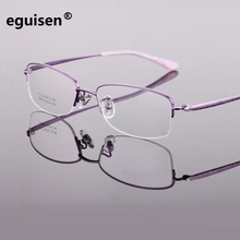 Width-145 new pure titanium ultra light half rim big face women fashion myopia optical eyeglasses frames eyewear female glasses