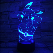 цены Pokemon Go Pikachu Figure 3d Night Lamp LED Touch Sensor Living Room Decor Drop Shipping Battery Night Light Table Lamp Pikachu