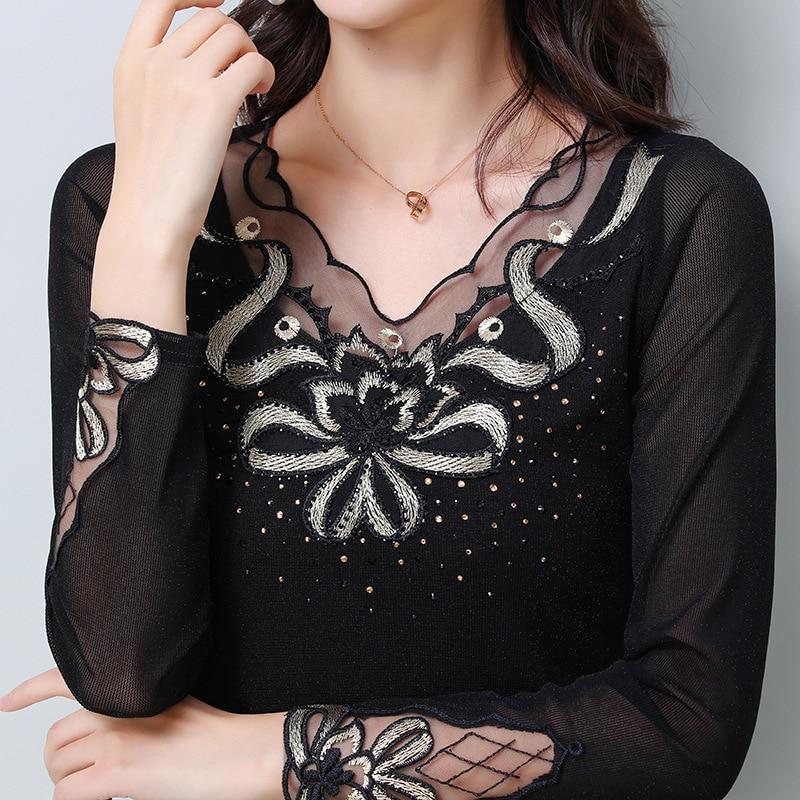 FGLAC plus size women   blouse     shirt   New Arrivals 2019 Spring long sleeve Hollow out mesh tops Elegant slim black   shirt   blusas