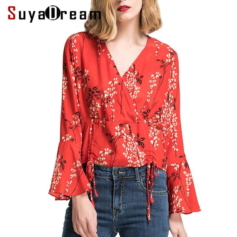 Femmes Blouse 100% vraie soie Floral imprimé papillon à manches Blouses de mode 2018 printemps été nouvelle chemise haute rouge
