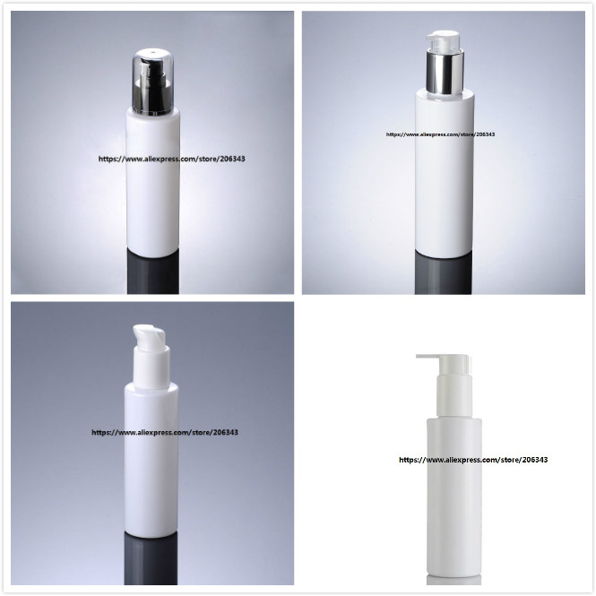 150ML white plastic PET bottle with press pump for lotion emulsion foundation serum cosmetic packing skin