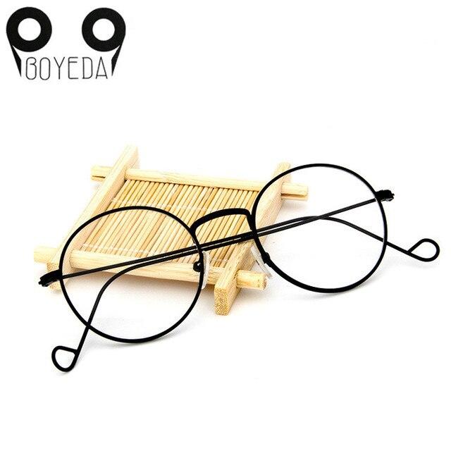 a9901d4f0 BOYEDA خمر جولة الإطار المعدني وصفة طبية النظارات الرجعية إطار نظارات نسائية  الأزياء الإناث النظارات شفافة