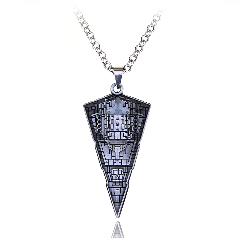 Star Wars Destroyer Ship Model Metal Necklace Rymdskepp Warship Triangle Hänge Legering Tillbehör Film Fans Smycken Män Gift
