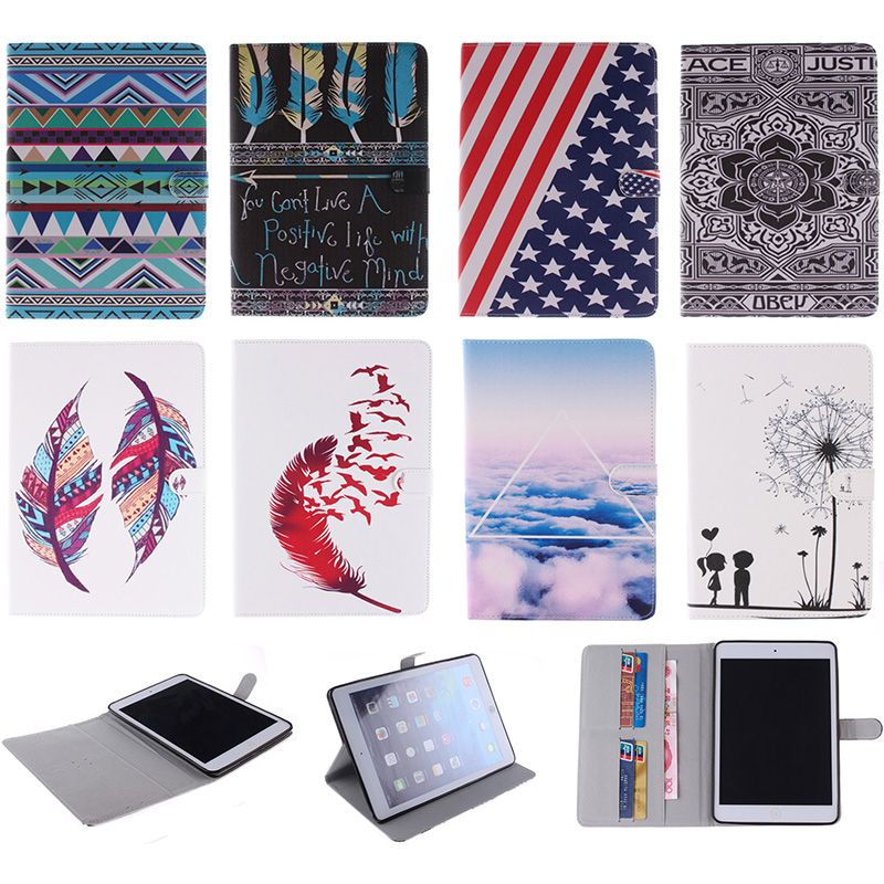 Fashion Feather Lotus Cloud Pattern PU Leather Flip Wallet Case For Apple iPad mini 1 2 3 7.9 Back Cover Coque For iPad mini2