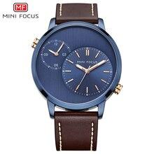Mini focus relógio com tira de couro, relógio de pulso de quartzo e luxo para homens relógio à prova d água com tira de couro marrom