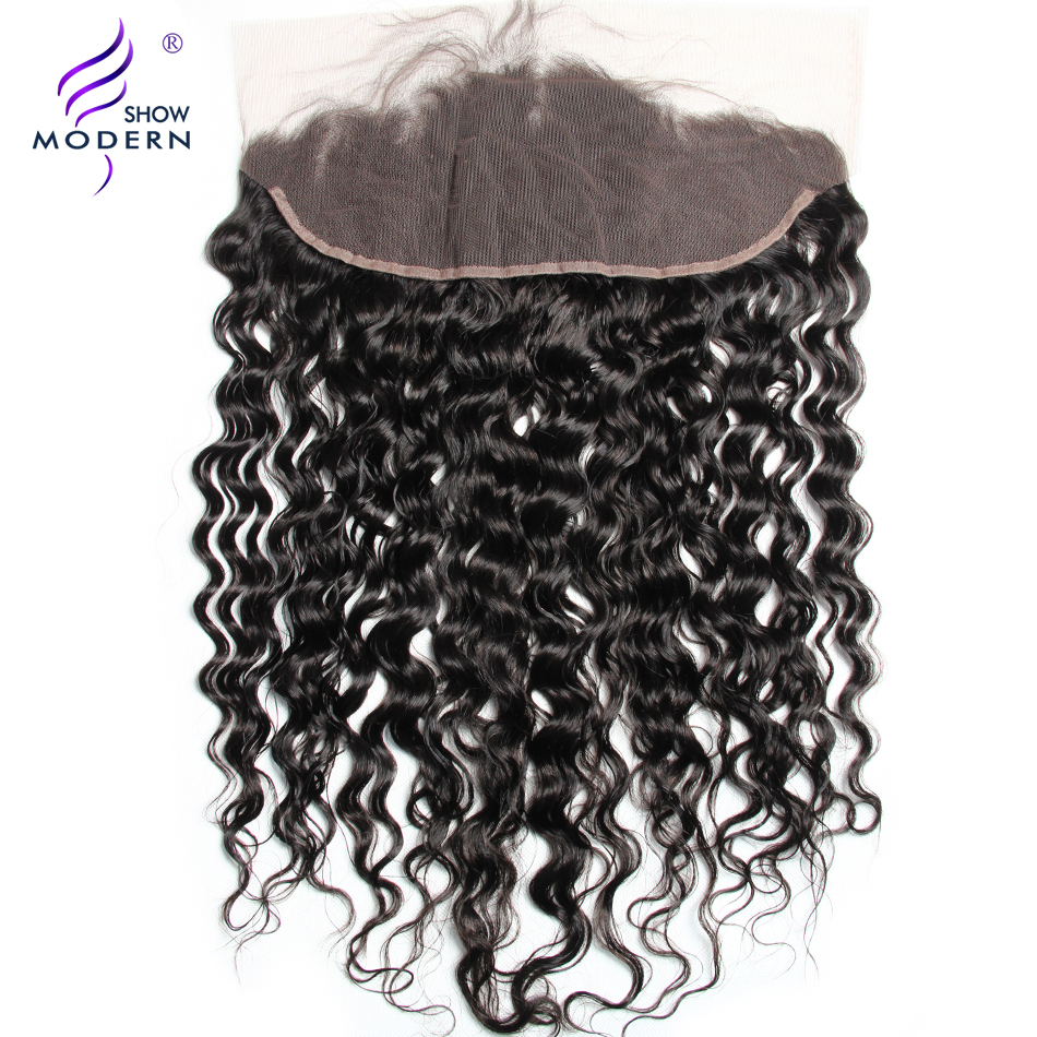 Modern Show Hair Water Wave 13x4 Ear To Ear Pre-Plucked Lace Frontal Closure With Baby Hairs 130% Density Remy Human hair Weave