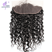 Modern Show Hair Water Wave 13x4 Ear To Ear Pre Plucked Lace Frontal Closure With Baby Hairs 130% Density Remy Human hair Weave