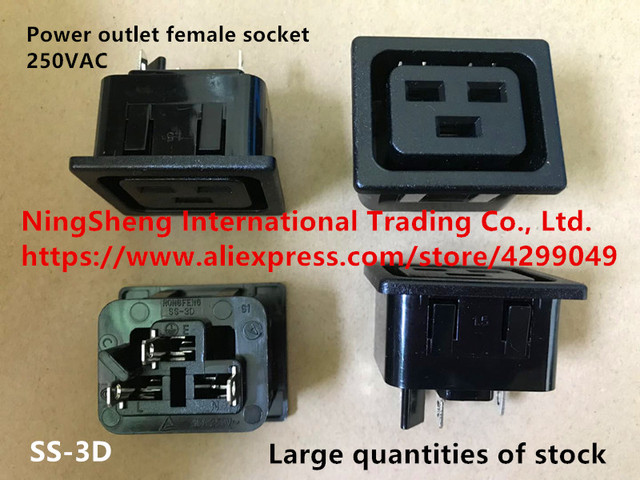 Original new 100% import power outlet female socket SS-3D-1.5-4.8 20A 250VAC power switch SS-3D